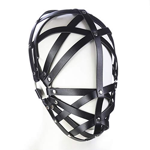 Unisex Role Play Game Set Black Genuine Leather Hollow Out Headgear -