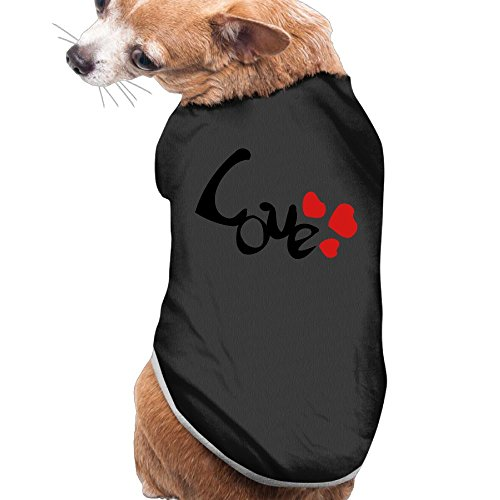 LOVE Hearts New Fashion CuteDogs Tee Shirts Dress Plain Sleeveless New Fashion Cute Best Holiday Gift S Black
