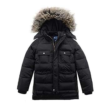 Amazon.com: Hiheart Boys Winter Faux Fur Hooded Windproof