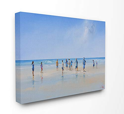 The Stupell Home Decor Beach Goers by The Ocean Bright Blue and Grey Painting Stretched Canvas Wall Art, 30 x 40, Multi-Color