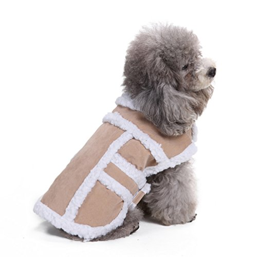 SELMAI Shearling Fleece Dog Winter Coat Jacket Windproof Dog Snowsuit British Style Vest Cozy with Furry Collar for Small Dog Cat Pet Puppy Doggie Cold Weather Clothes Apparel Beige XL