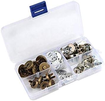 20 pzs. Juego de Botones de Ajuste magnético Broche de imán con Caja de plástico para la Ropa de la Bolsa (Plata, 1,4 cm; Bronce 1,4 cm; Plata 1,8 cm; Bronce, 1,8