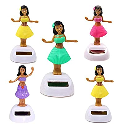 KT Set of 5 Solar Toy Hawaiian Aloha Luau Hula Girl Random Mixed Color: Toys & Games