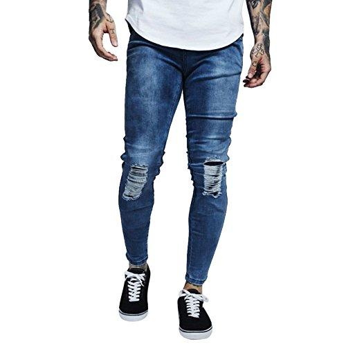 Cebbay Liquidación Jeans Rotos para Hombres Ajuste elástico del Cuerpo Hueco Pantalones Vaqueros Motorista para Azul