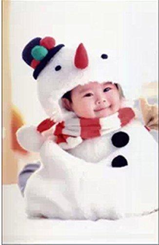 3efae4200c87d 雪だるまのあったかコスチューム!クリスマス サンタクロース イブ 赤ちゃん 誕生日 オリジナルステッカー入り