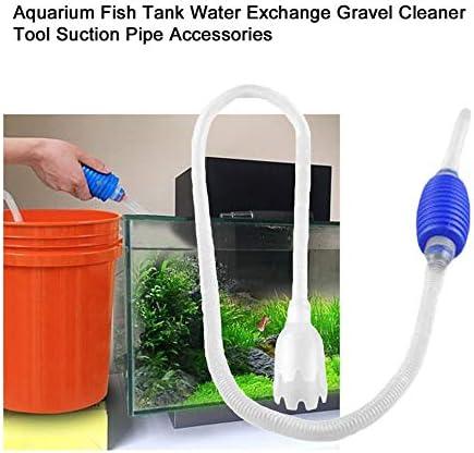 Wenjie Aquarium Fish Tank Vacuum Water Exchange Gravel Cleaning Tool Suction Pipe Aquarium Accessories Siphon Pump Filter Tube White/&Blue