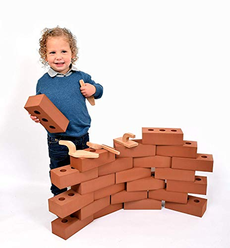 Playlearn USA Brick Building Blocks for Kids, Actual Brick Size, Builders Set for Construction and Stacking (50 Pack) (Preschool Block Foam)