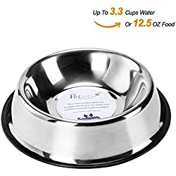 Stainless Steel Dog Bowls With Rubber Base Non-Skid Classical Food Bowl,Water Bowl For All Pets Rust Resistant (Various Sizes Available) By Petutu-L(Up to 12.5oz Food)
