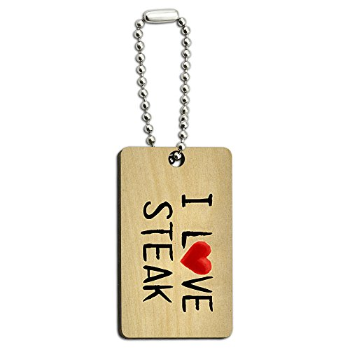 Price comparison product image I Love Steak Written on Paper Wood Wooden Rectangle Key Chain