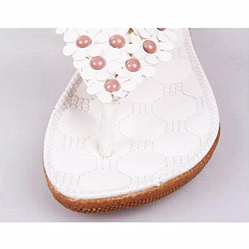 flop Phone Flat Flower White Waterproof Bohemia Beads 1 Summer with Slingback Womens' Shoes Case Flip Sandals HXqCUnw