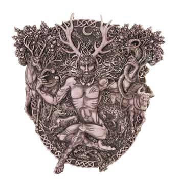 Celtic Statue Cernunnos Horned God Wall Plaque Hand Painted Resin Bone Gray Colored Finish (Cernunnos Plaque)