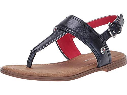 Girls Navy Sandals (Tommy Hilfiger Girls Kids' Paige Flat Sandal Navy Metallic 2 Medium US)