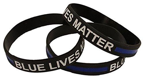 [Thin Blue Line Blue Lives Matter Wristband Bracelets (3 Pack)] (Leo Johnson Costume)