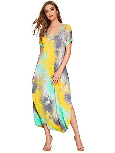 MAKEMECHIC Casual Maxi Short Sleeve Split Tie Dye Long Dress Green Yellow XS