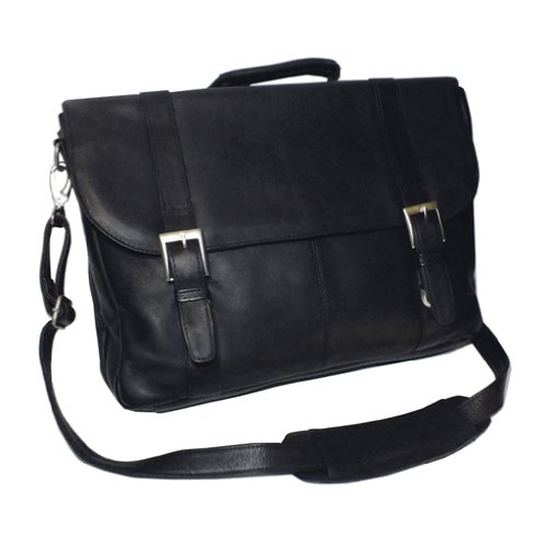 Vaquetta Triple Compartment Laptop Briefcase (Black) (5H x 12W x 24D) by Royce Leather