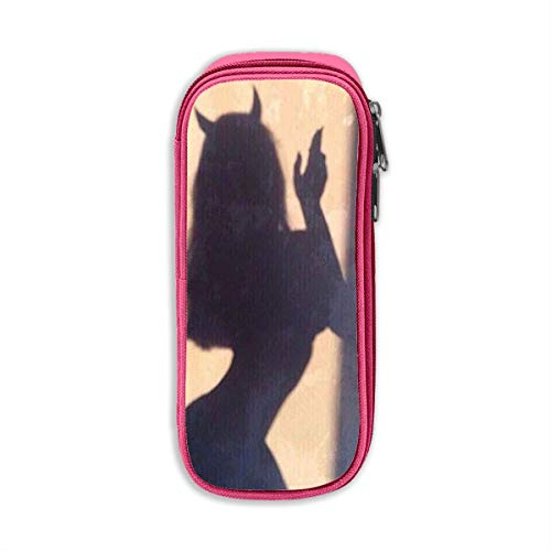 Girl with Devil Horns Shadow Students Pen Case with Double Zippers Large Capacity Pouch Stationary Case for Cosmetic Brush -