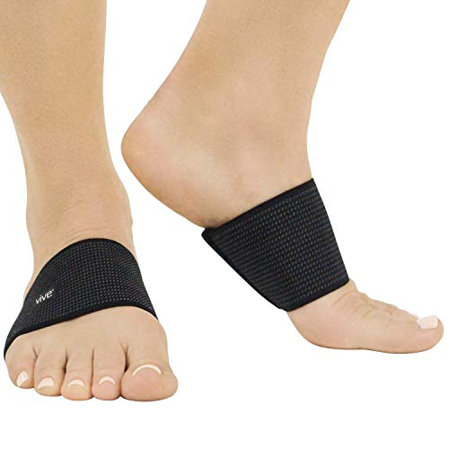 Vive Arch Compression Sleeves (Pair) - Plantar Fasciitis Support Insert for High and Low Arches, Women, Men - Gel Cushion Insole Sock Brace for Flat Feet - Orthotic Foot Wrap for Heel Spur Pain Relief