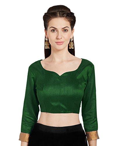 Women's Green Art Silk Readymade Saree Blouse Stylish Choli Mirchi Fashion Top