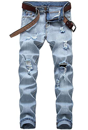 FREDD MARSHALL Men's Light Blue Slim Fit Ripped Destroyed Distressed Stretch Fashion Denim Jeans 8011