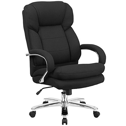High-Back Black Fabric Intensive-Use Multi-Shift Swivel Office Chair with Headrest and Loop Arms Back Multi Shift Chair
