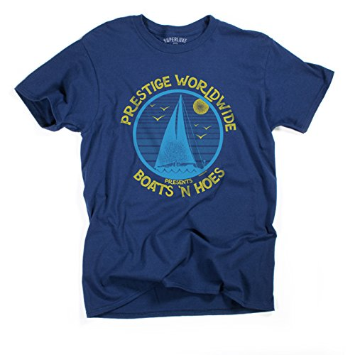 Superluxe Clothing Mens Unisex Boats N Hoes Prestige Worldwide T-Shirt (X-Small) Navy