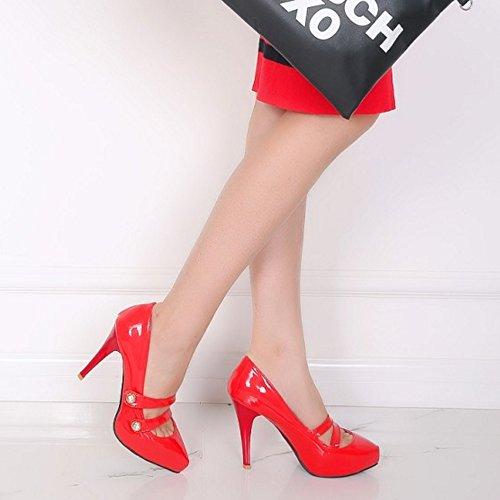 Court Zapatos Bombas Cerrado Aguja Sin COOLCEPT Mujer Zapatos de Rojo Moda Cordones Tacon wAq4HxIP