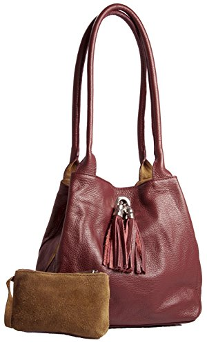 (LIATALIA Womens Two in One Real Leather with Reversible Suede Medium Size Slouch Shoulder Bag - ELLA [Deep Red])