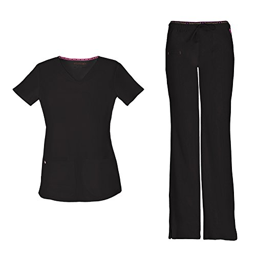 HeartSoul Women's Pitter-Pat Shaped V-Neck Scrub Top 20710 & Heartbreaker Heart Soul Drawstring Scrub Pants 20110 Medical Scrub Set (Black - Large/XL Tall)