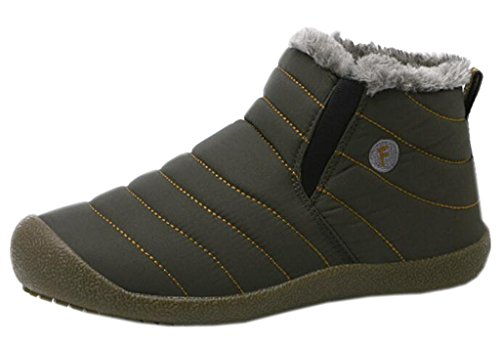DADAWEN Unisex Couple Winter Waterproof Fur Lined Ankle Snow Boots Gray and Green Women US Size 7/Men US Size 6.5