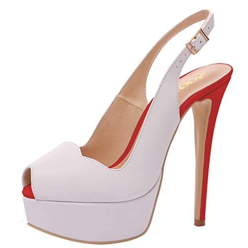(AOOAR Women's Slingback High Heels with Platform White & Red PU Party Pumps 10 M US)
