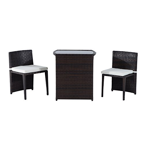 Outsunny 3 Piece Chair and Table Rattan Wicker Patio Nesting Furniture Set (Walmart Dinner Tables)