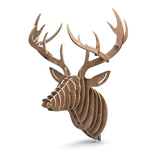 (GBtroo Hanging Deer Head Wall Mount for Home Wall Decor - Assemblable 3D Wooden Hanging Wall Deer for Fireplace, Office, Bedroom, Bathroom, Living Room, and)