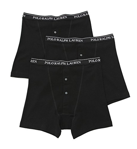 Polo Ralph Lauren Classic Button Fly Boxer Brief 3-Pack, M, Black Classic 3 Pack Boxer Brief