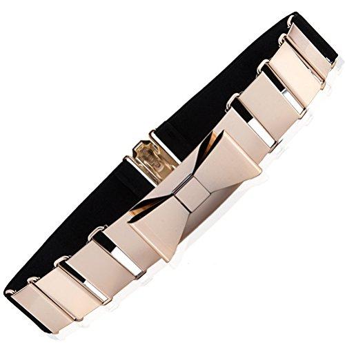 [Women's Fashion Gold Metal Keeper Metallic Big Mirror Bow Wide Obi Belts (Folding metal Black)] (Big Gold Belt)