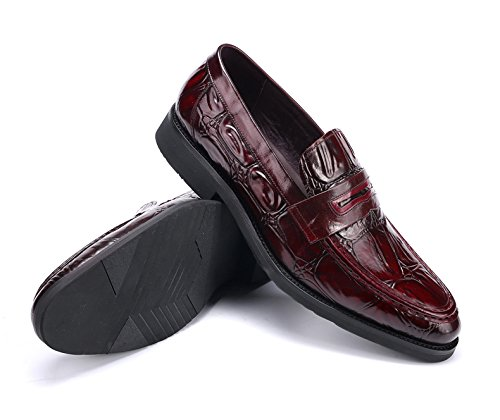 Happyshop Tm Mens Falso In Pelle Di Coccodrillo Moda Mocassini Slip On Scarpa Comfort Driving Shoes Vino Rosso