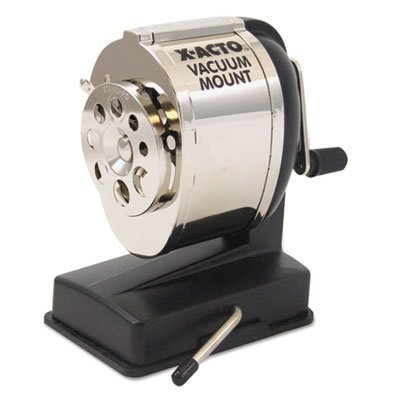 KS Manual Vacuum Mount Classroom Pencil Sharpener, Black/Chrome, Sold as 1 Each