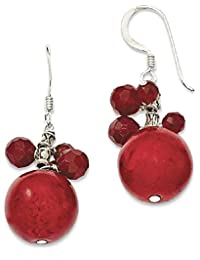 IceCarats 925 Sterling Silver Faceted Red Jasper 14mm Reconstituted Coral Drop Dangle Chandelier Earrings
