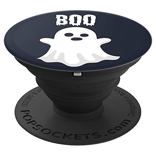 (Haunting Spooky Boo Ghost - Navy and White Phone Accessory - PopSockets Grip and Stand for Phones and Tablets)