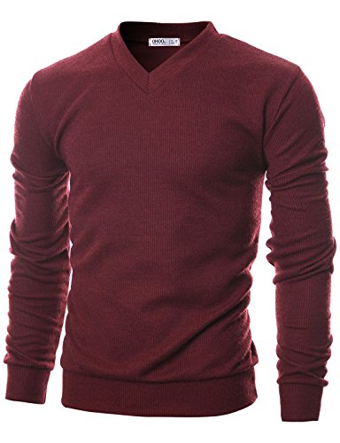 Ohoo Mens Slim Fit Ribbed Fabric Light Weight V-Neck Pullover (Ribbed Pullover Sweater)