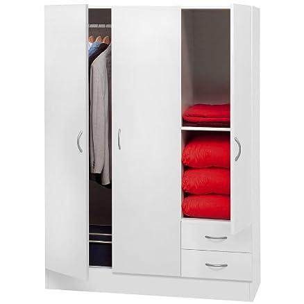 Armadio 3 ante e 2 cassetti colore bianco: Amazon.it: Casa e cucina