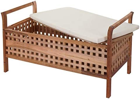 Panca Contenitore Legno : Mendler panca contenitore hwc b61 design decorativo legno di noce