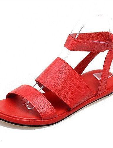 ShangYi Women's Shoes Leatherette Flat Heel Mary Sandals Office & Career / Party & Evening / Dress / Casual Black / Red White
