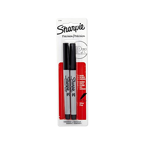 Sharpie Ultra Fine Tip Marker - Sharpie 37161PP Ultra Fine Point Permanent Markers (Set of 4), Resists Fading and Water, Black Color, 4 Blister Pack with 2 Markers, Total 8 Markers