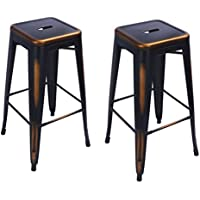 Pub Industrial Bar/Counter Stools 30 inches---- Homebeez Best Selling Metal Tolix Style Chair/ Stools Set of two ( Antique Copper)