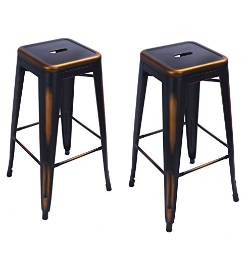 Joveco Dark Bronze Vintage Finished Metal Stools, Set of 2 Review