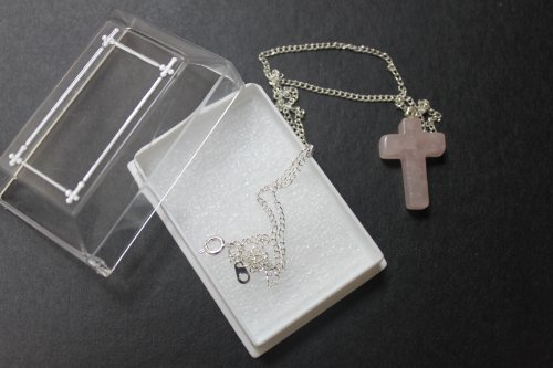 Gemstone Crucifix - ROSE QUATRZ Gemstone 25mm Crucifix Cross Charm Medal Pendant Silver Plated Chain & Box