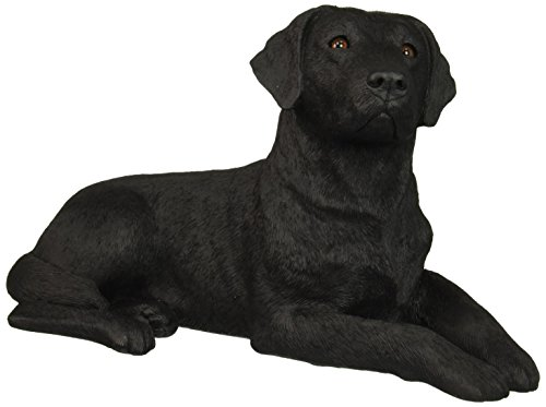 Black Original Dog Figurine (Sandicast Original Size Black Labrador Retriever Sculpture, Lying)