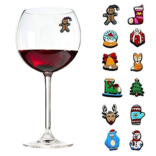 Christmas Holiday Magnetic Wine Charms, Glass & Cocktail Markers, Wine Accessories, Great Christmas Hostess Gift, Stocking Stuffers - Set of 12 (Great Christmas Stocking)