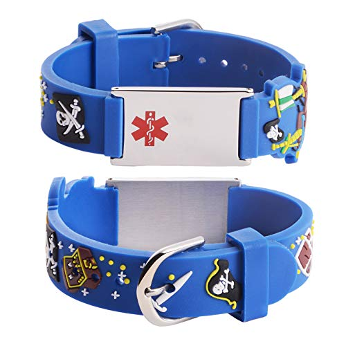 linnalove-Cartoon Pirates Medical id Bracelet for boy & Girl,Kids-Free Engraved