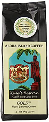 Aloha Island Kona Smooth GOLD Medium Roast, Kings Reserve Hawaiian Blend Coffee, 8 Oz Ground